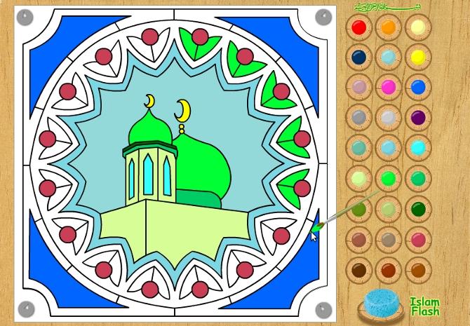 раскраски онлайн для мусульман мечети