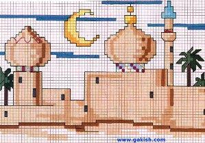 Схемы вышивки мечеть, мусульманские вышивки, исламские схемы вышивки