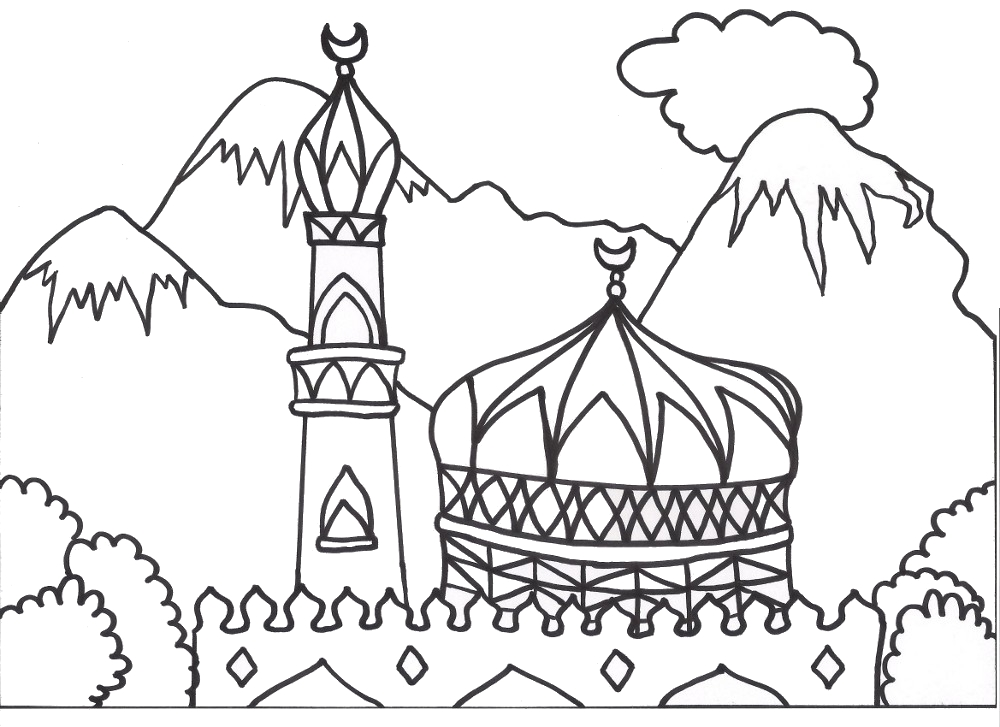free coloring pages of masjid