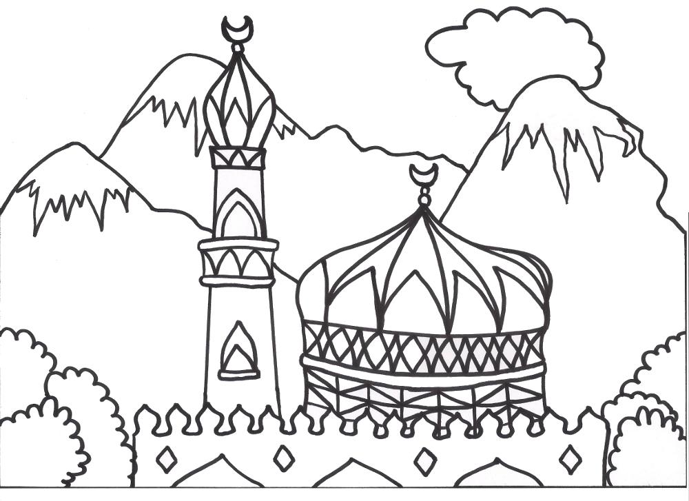 Mosque coloring page раскраски мечеть