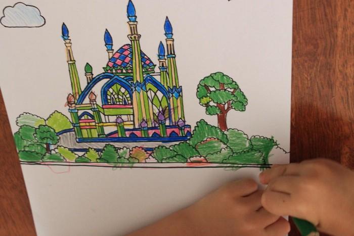 Раскраски мечети для детей, Разукрашки мечети