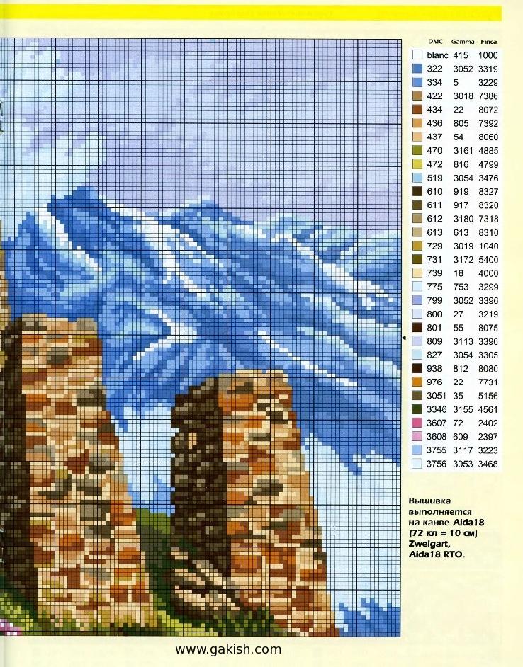 Бесплатная схема вышивки горы