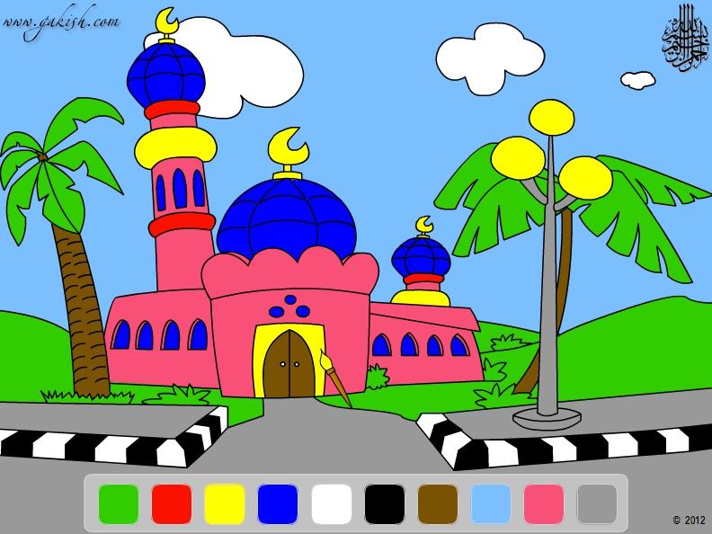 Раскраска мечеть: Учим цвета на Чеченском языке ...