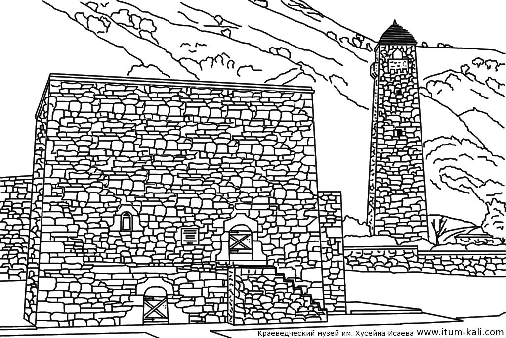Раскраски для детей, Чечня, башни, раскраски архитектура